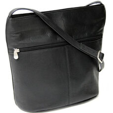 Shoulder Bag with Front Zipper - Colombian Vaquetta Leather - Black