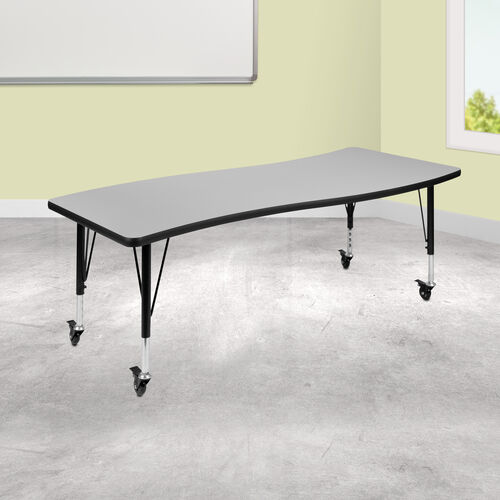"""Mobile 26""""W x 60""""L Rectangular Wave Collaborative Grey Thermal Laminate Activity Table - Height Adjustable Short Legs"""