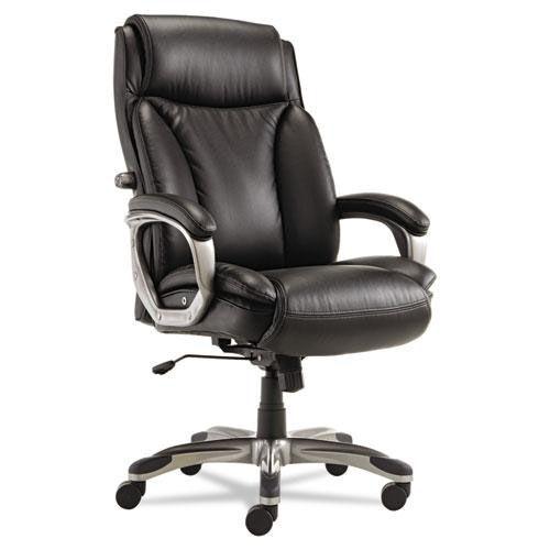 Alera® Veon Series Executive High-Back Leather Chair - w/ Coil Spring Cushioning - Black
