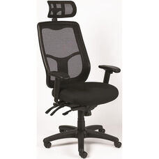 Apollo Multi Function 26'' W x 20'' D x 40.5'' H Adjustable Height Office Chair with Ratchet Back and Headrest - Black