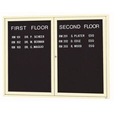 2 Door Indoor Enclosed Directory Board with Ivory Anodized Aluminum Frame - 48