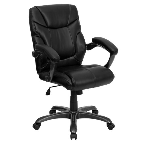 Our Mid-Back Black Leather Overstuffed Swivel Task Ergonomic Office Chair with Arms is on sale now.