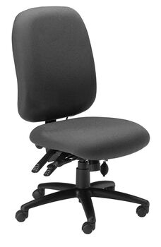 24 Hour High Performance Armless Office Chair with 300 lb Capacity - Gray Fabric