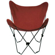 Folding Butterfly Chair with Black Steel Frame and Cotton Cover - Burgundy