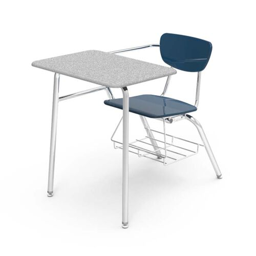 Our 3000 Series Combo Gray Nebula Hard Plastic Top Desk with Navy Plastic Seat and Chrome Frame - 24