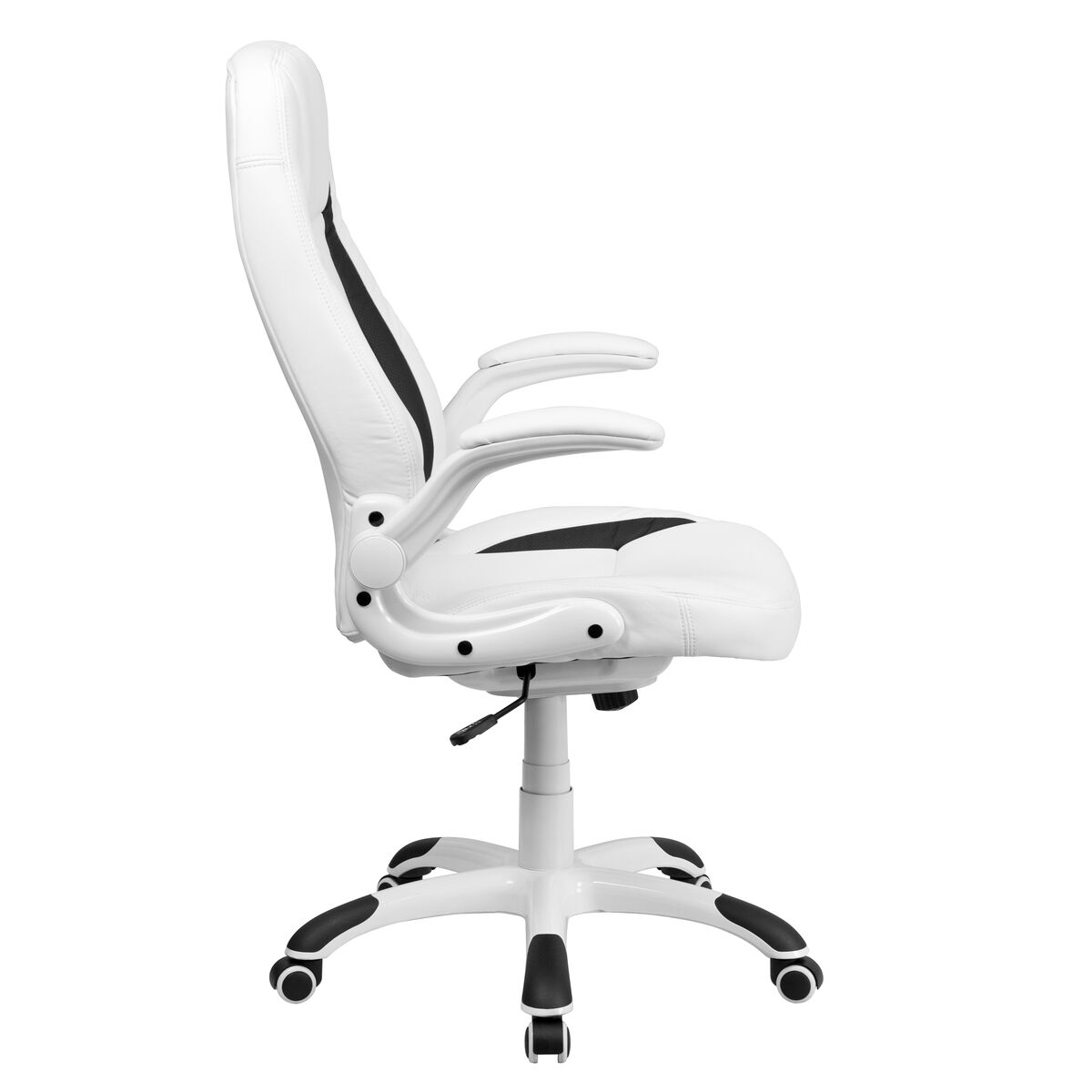 Our High Back White Leather Executive Swivel Chair With Flip Up Arms Is On