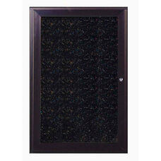 1-Door Bronze Aluminum Enclosure Recycled Rubber Tackboard - Confetti Speck