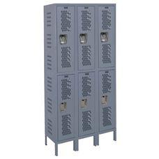 Heavy-Duty Ventilated (HDV) Three Wide Double-Tier Locker - Assembled - Dark Gray - 45