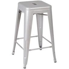 Rivet Stackable 26''H Backless Metal Stool - Grey