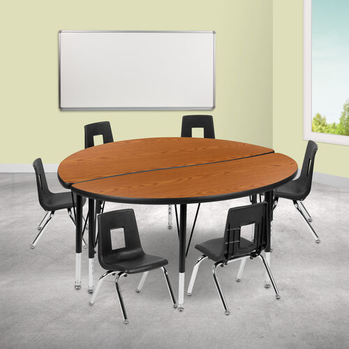 """47.5"""" Circle Wave Collaborative Laminate Activity Table Set with 14"""" Student Stack Chairs, Oak/Black"""