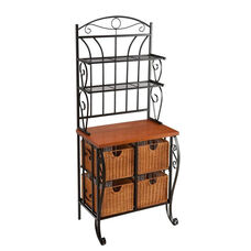 Iron Fixed Shelf Bakers Rack with Oak Veneer Counter and Brown Wicker Baskets - Black