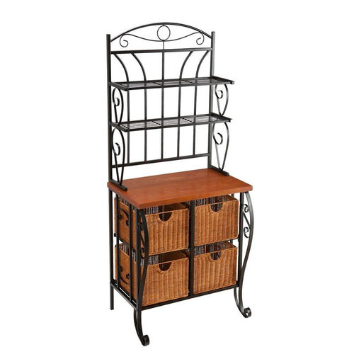 Our Iron Fixed Shelf Bakers Rack with Oak Veneer Counter and Brown Wicker Baskets - Black is on sale now.