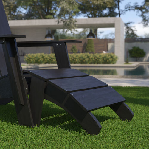 Sawyer Modern All-Weather Poly Resin Wood Adirondack Ottoman Foot Rest in Black