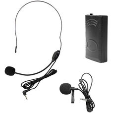 Black Microphone PA Systems 214.5 Frequency Belt Pack with Lapel Mic and Head Worn Mic