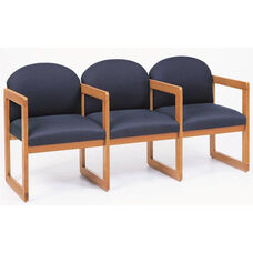 Classic Series Round Back 3 Seats with Sled Base and Center Arms