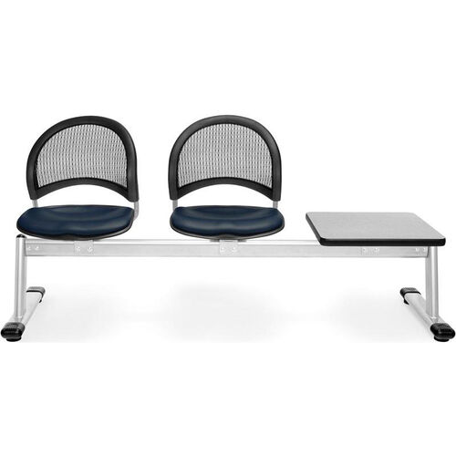 Our Moon 3-Beam Seating with 2 Navy Vinyl Seats and 1 Table - Gray Nebula Finish is on sale now.