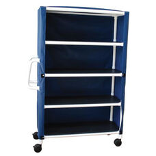 4-Shelf Jumbo Linen Cart with Mesh Cover and Casters - 24
