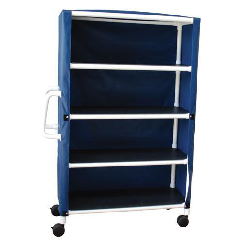 Our 4-Shelf Jumbo Linen Cart with Mesh Cover and Casters - 24