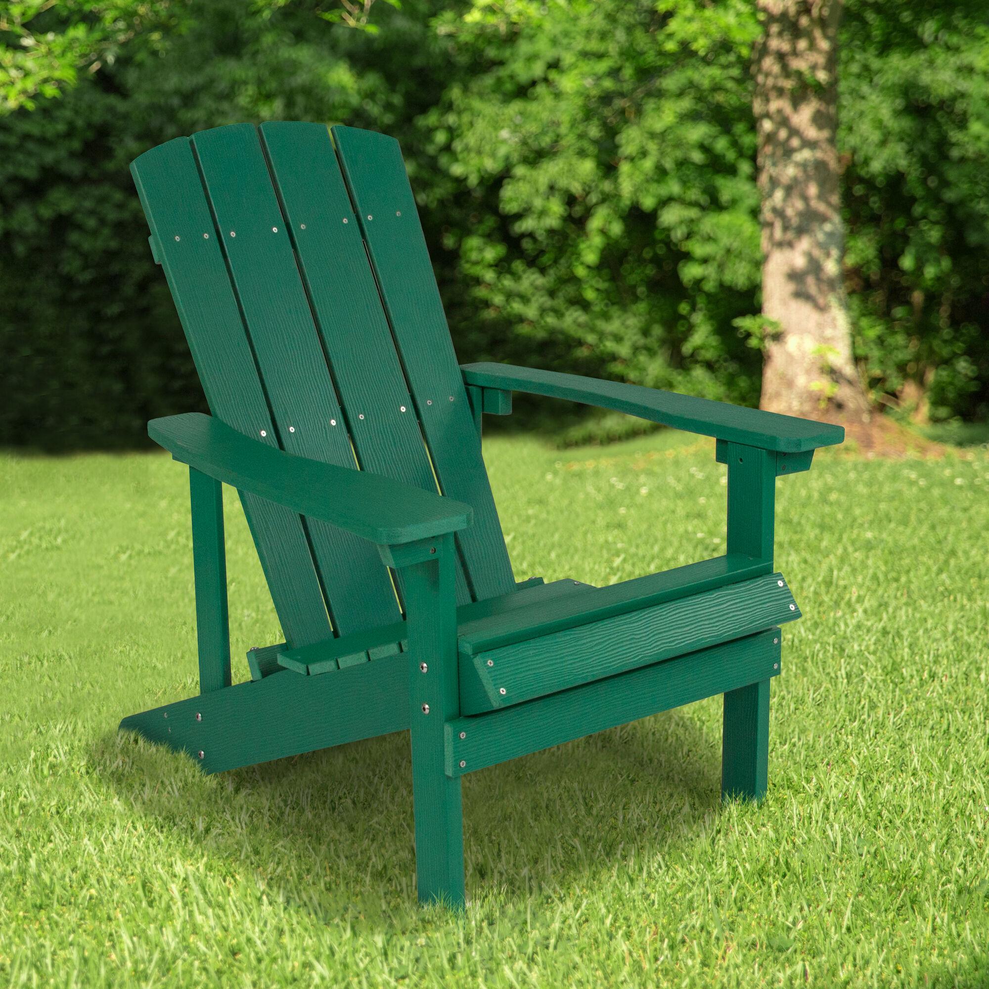 Flash Furniture Charlestown All-Weather Adirondack Chair in Green ...