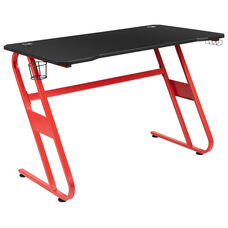 Red Gaming Ergonomic Desk with Cup Holder and Headphone Hook