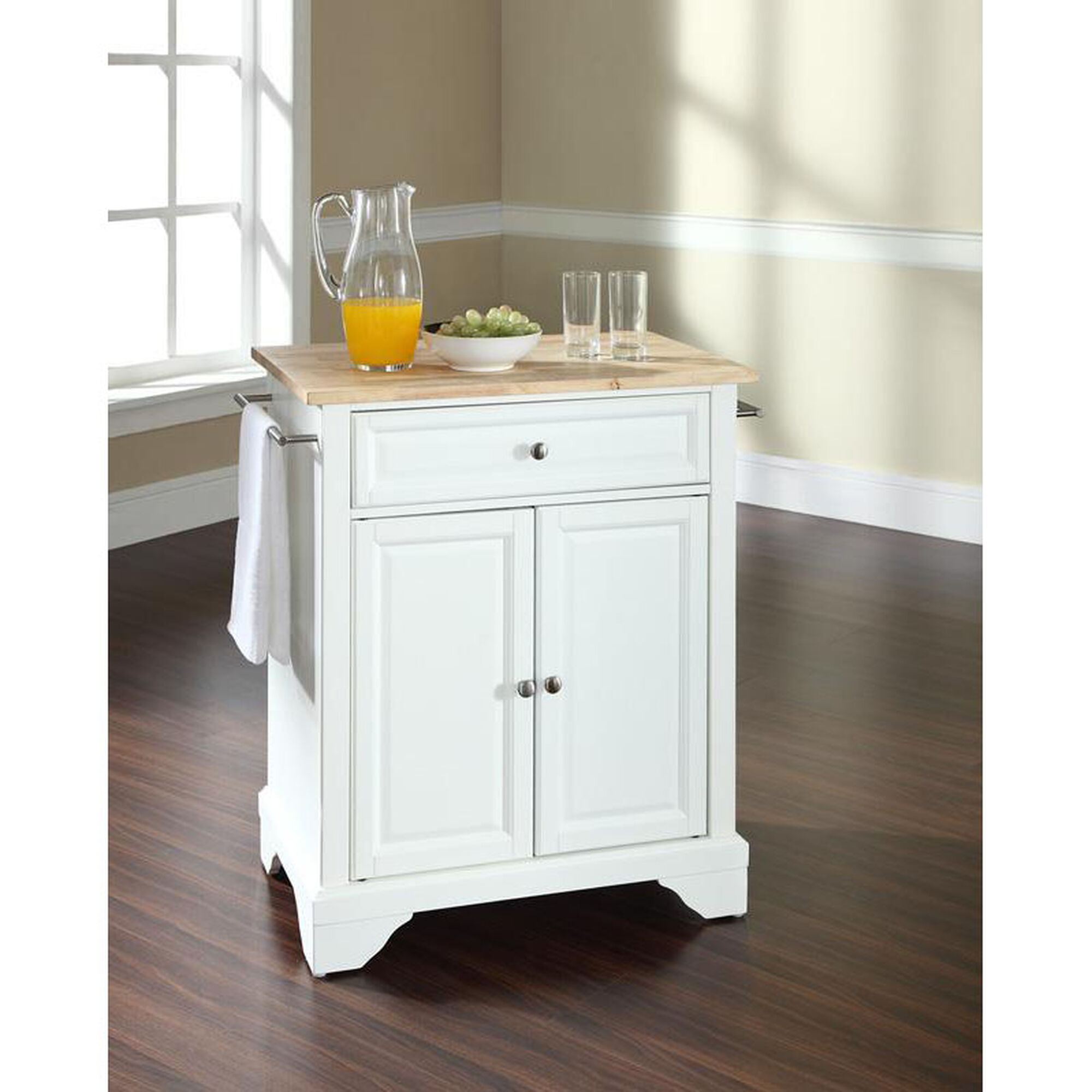 Crosley Natural Wood Top Portable Kitchen Island With