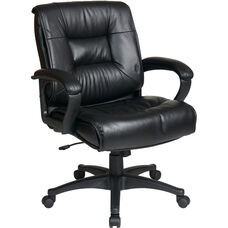 Work Smart Deluxe Mid Back Executive Glove Soft Leather Chair with Padded Loop Arms - Black