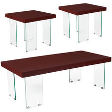 Forest Hills Collection 3 Piece Coffee and End Table Set in Red Cherry Wood Grain Finish and Glass Legs