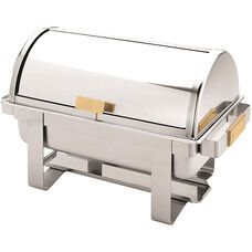 8 Quart Roll Top Chafer with Golden Handle Set