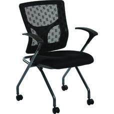 Pro-Line II ProGrid Checkered Mesh Back Folding Chair - Set of 2 - Titanium and Coal