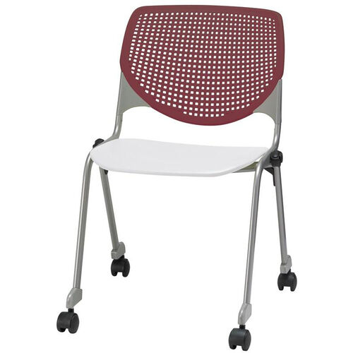 Our 2300 KOOL Series Stacking Poly Silver Steel Frame Armless Chair with Burgundy Perforated Back and Casters - White Seat is on sale now.