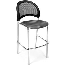 Moon Cafe Height Chair with Plastic Seat and Chrome Frame - Black