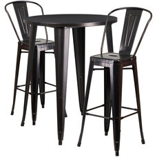 """Commercial Grade 30"""" Round Black-Antique Gold Metal Indoor-Outdoor Bar Table Set with 2 Cafe Stools"""