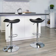 Contemporary Black Vinyl Adjustable Height Barstool with Wavy Seat and Chrome Base