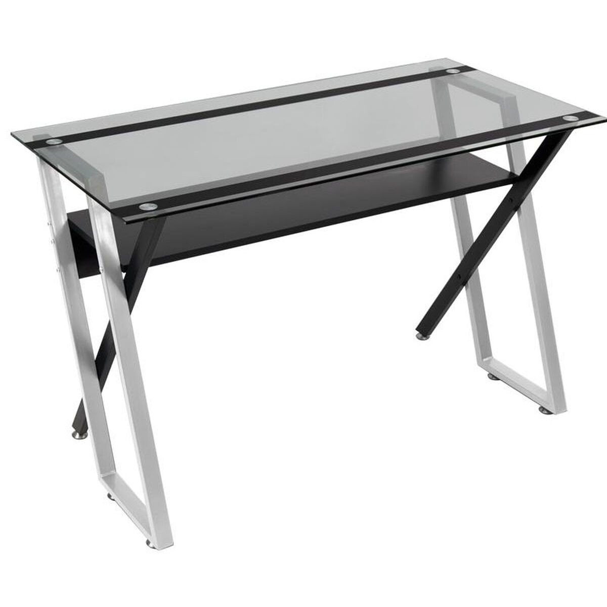 Our Colorado Clear Tempered Glass And Steel Desk With Criss Crossed Legs Black