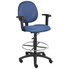 Contoured Seat Fabric Drafting Stool with Foot Ring and Adjustable Arms - Blue