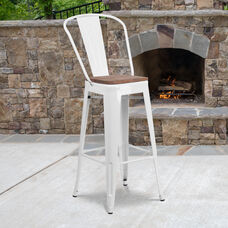 """30"""" High White Metal Barstool with Back and Wood Seat"""