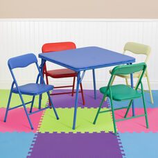 Kids Colorful 5 Piece Folding Table and Chair Set