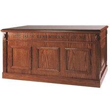 Stained Red Oak Closed Communion Table with Raised Bevel Panels