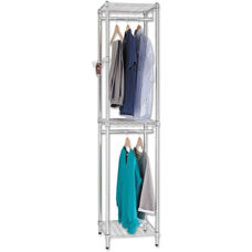 Alera® Dual Tier Wire Shelving Garment Tower with 3 Support Hooks - 18