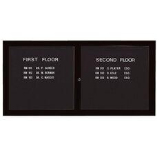 2 Door Indoor Illuminated Enclosed Directory Board with Black Anodized Aluminum Frame - 36