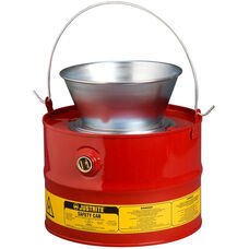 3 Gallon Liquid Drain Can with Plated Steel Funnel - Red