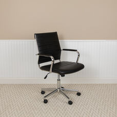 Mid-Back Black LeatherSoft Contemporary Ribbed Executive Swivel Office Chair