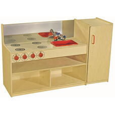 3 in 1 Wooden Kitchenette with Red Accents - 48