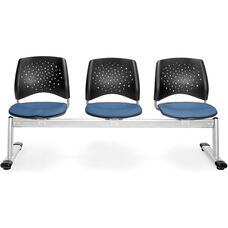 Stars 3-Beam Seating with 3 Fabric Seats - Cornflower Blue