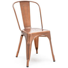 Dreux Vintage Copper Stackable Steel Armless Side Chair - Set of 4