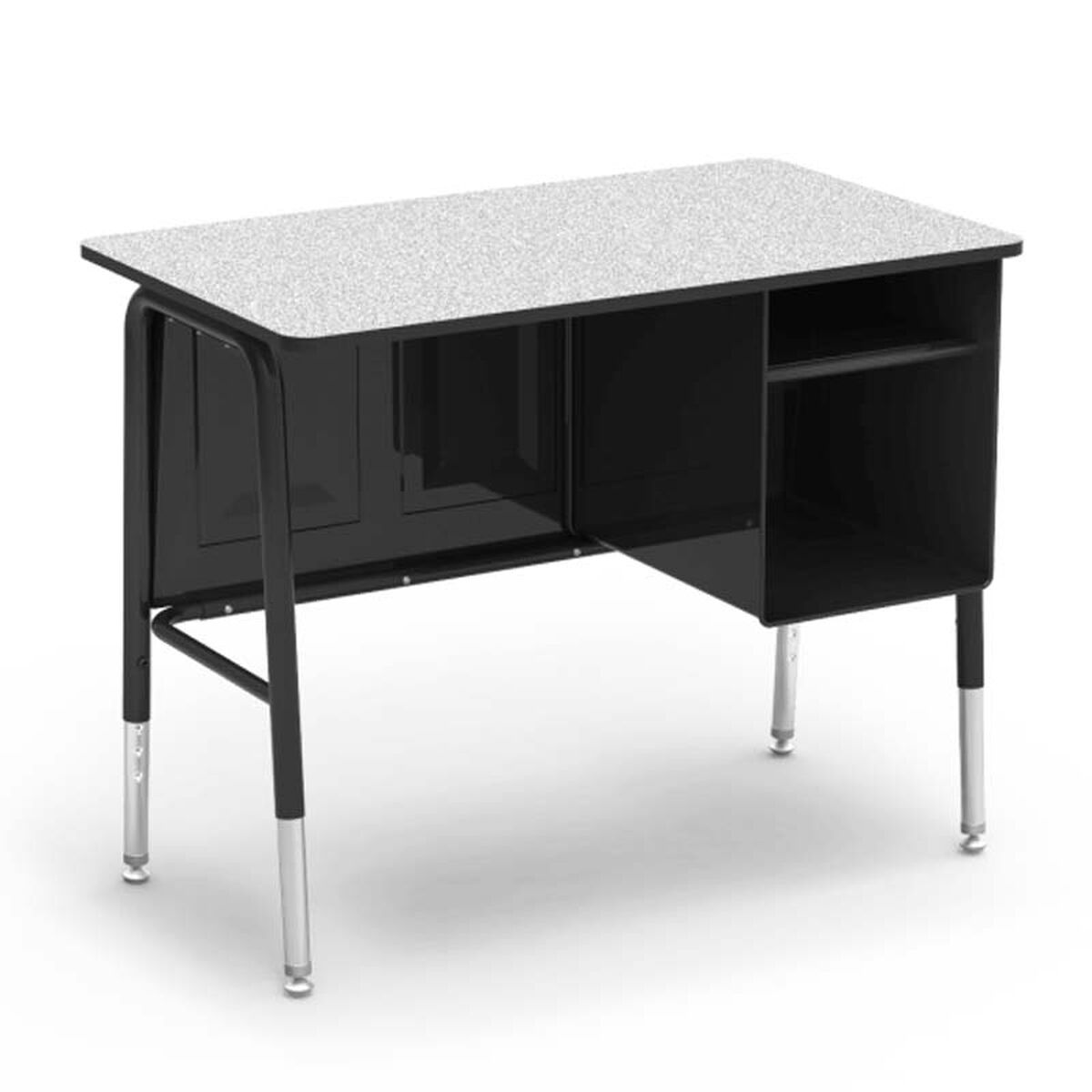 Our 765 Series Jr Executive Desk With Gray Nebula Laminate Top And Black Frame