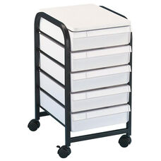 Black Frame Mobile Organizer with 5 White Drawers