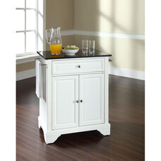 Solid Black Granite Top Portable Kitchen Island with Lafayette Feet - White Finish