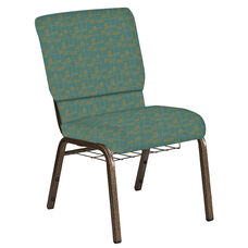 Embroidered 18.5''W Church Chair in Circuit Turquoise Fabric with Book Rack - Gold Vein Frame