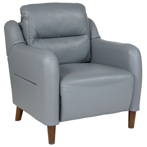 Newton Hill Upholstered Bustle Back Arm Chair in Gray LeatherSoft